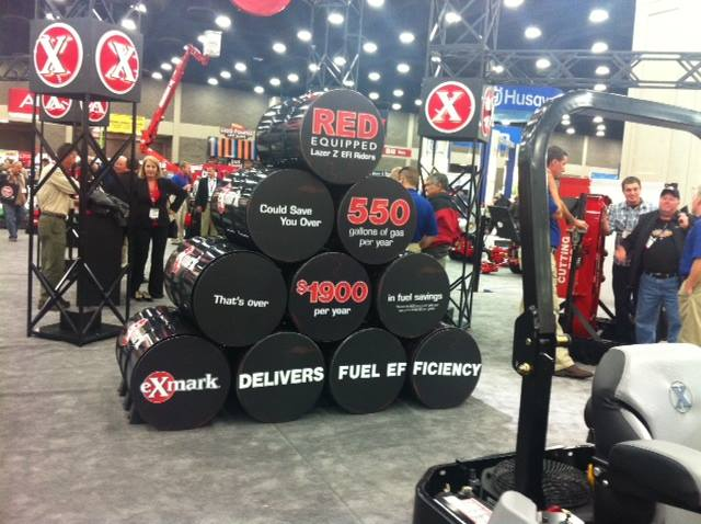 These barrels represent how much fuel (and money) a landscape professional can save running a RED-equipped Lazer Z X-Series mower. How much can you save, you may ask? If you run 600 hours, you'll save on average 550 gallons of fuel and have about $1,900 in your pocket!