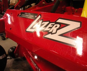 Coe's Lazer Z X-Series mower was personalized with a custom name plate.