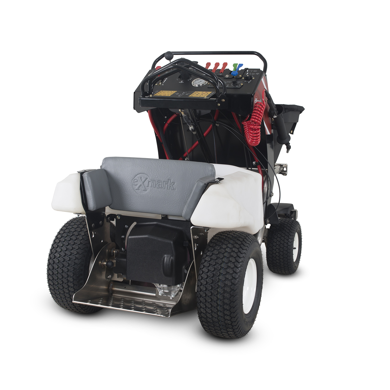 The Exmark Spreader Sprayer features exclusive Lean-To-Steer control system, which allows one-handed direction and speed control, leaving the other hand free to perform spot treatments, or adjust sprayer or spreader controls on-the-fly.