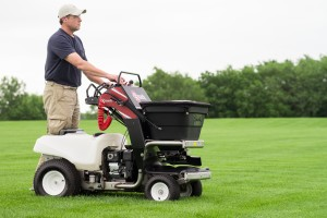 The Exmark Stand-On Spreader Sprayer makes quick work of virtually any spreading or spraying job.