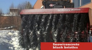 The standard black brush set is optimized for snow removal and concrete cleaning.