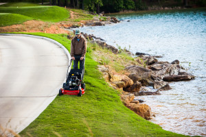Mower safety -- mowing at the water's edge