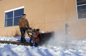 Mowing Business snow removal with Exmark Rotary Broom