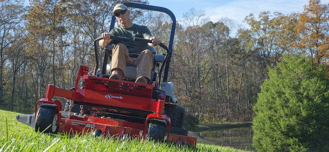 Lazer Z E-Series mower with suspension platform in use