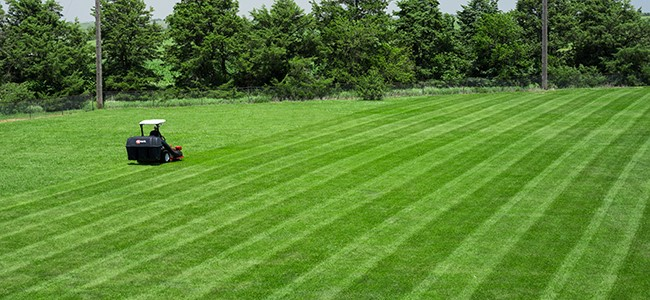 An Exmark mower striping a lawn