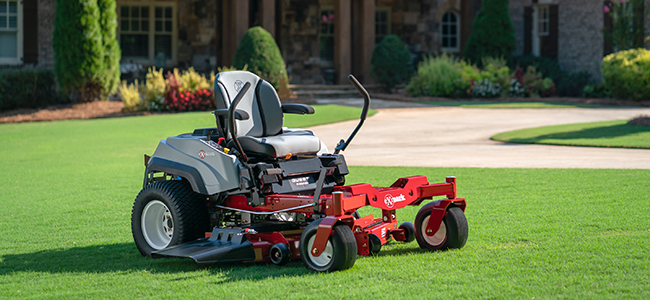 Quest residential zero-turn mower on a freshly mowed lawn